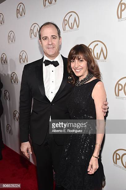 Producer David Nevins and guest attend the 27th Annual Producers Guild Of America Awards at the Hyatt Regency Century Plaza on January 23 2016 in...