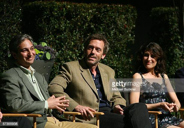 Producer David Shore actor Hugh Laurie and actress Lisa Edelstein speak at the Evening With House presented by ATAS at the Academy of Television Arts...