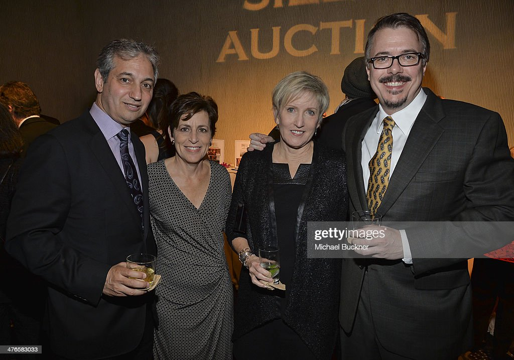 Producer David Shore , Judy Shore, Holly Rice and Vince Gilligan attend the Venice Family Clinic's 32nd Annual Silver Circle Gala at The Beverly Hilton Hotel on March 3, 2014 in Beverly Hills, California.