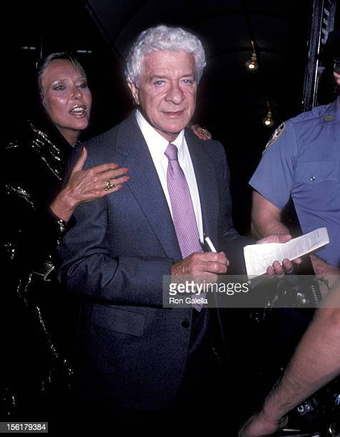 Producer David Susskind and wife Joyce Davidson attend the Yves Montand Opening Night Performance After Party on September 7 1982 at Luchow's in New...
