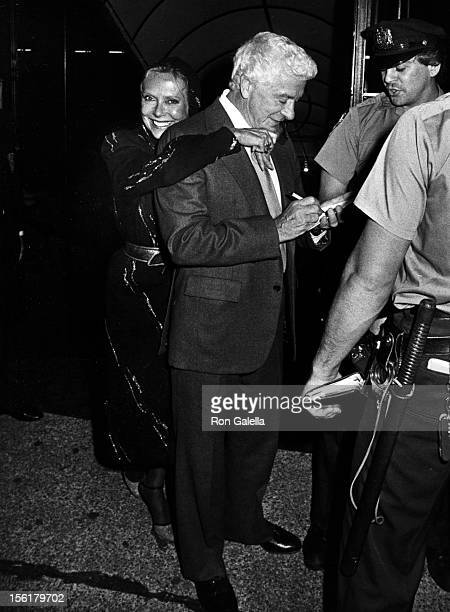 Producer David Susskind and wife Joyce Davidson attend Yves Montand Opening Night Performance After Party on September 7 1982 at Luchow's in New York...