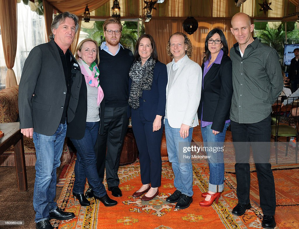 Producer David Womark, Debra Hayward, Dan Janvey, Kathleen Kennedy, Bruce Cohen, Stacey Sher and moderator John Horn attend the 28th Santa Barbara International Film Festival Producers Panel on February 1, 2013 in Santa Barbara, California.