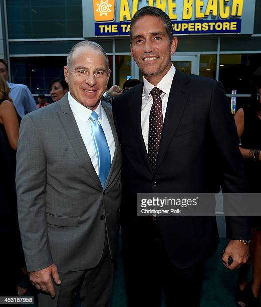 Producer David Zelon and actor Jim Caviezel attend the premiere of Tri Star Pictures' When The Game Stands Tall at ArcLight Cinemas on August 4 2014...