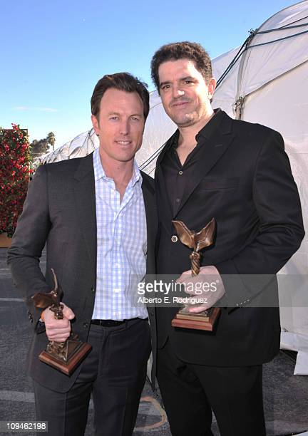 Producer Dean Zanuck and director Aaron Schneider winners of the Best First Feature award for 'Get Low' at the 2011 Film Independent Spirit Awards at...