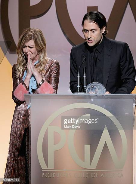 Producer Dede Gardner and producer Jeremy Kleiner onstage at the 27th Annual Producers Guild Awards at the Hyatt Regency Century Plaza on January 23...