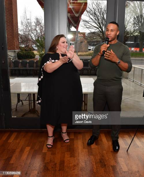 Producer DeVon Franklin and Actress Chrissy Metz attend the 'Breakthrough' VIP Reception at Table 3 on March 14 2019 in Nashville Tennessee