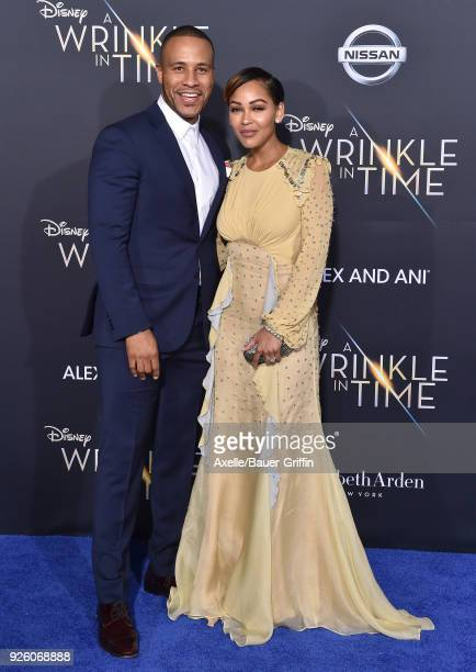 Producer DeVon Franklin and actress Meagan Good arrive at the premiere of Disney's 'A Wrinkle In Time' at El Capitan Theatre on February 26 2018 in...