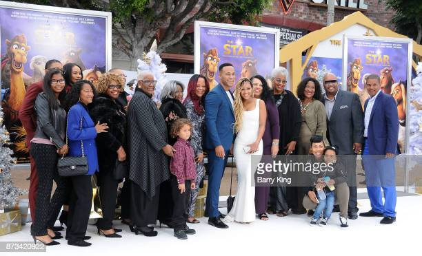 Producer DeVon Franklin and wife actress Meagan Good and family attend the premiere of Columbia Pictures' 'The Star' at Regency Village Theatre on...