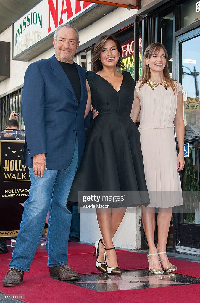 Producer Dick Wolf and actresses Mariska Hargitay and Hilary Swank attend the ceremony honoring Mariska Hargitay with a Star on The Hollywood Walk of Fame on November 8, 2013 in Hollywood, California.