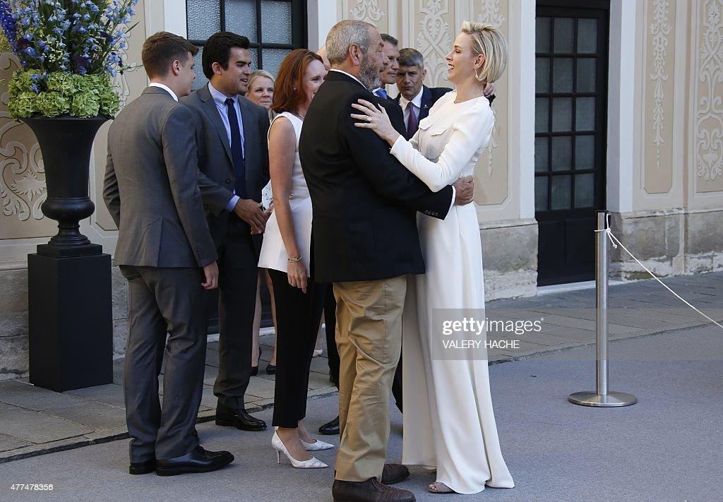 Producer Dick Wolf Embraces Princess Charlene Monaco Picture Monte Carlo Tv Festival