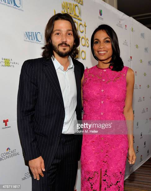 Producer Diego Luna and actress Rosario Dawson attend the 2014 NHMC Impact Awards at Regent Beverly Wilshire Hotel on February 28 2014 in Beverly...