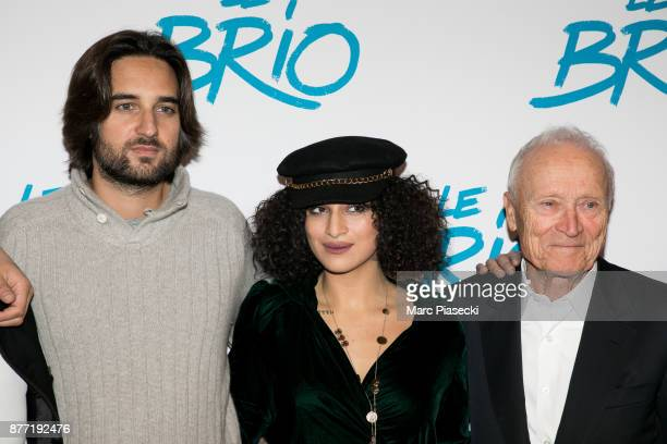 Producer Dimitri Rassam actress Camelia Jordana and Jerome Seydoux attend the 'Le Brio' Premiere at Cinema Gaumont Capucine on November 21 2017 in...