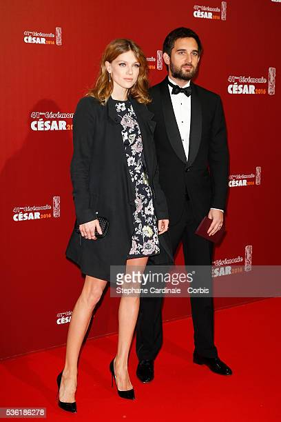Producer Dimitri Rassam and his wife Masha Novoselova arrive at the Cesar Film Awards 2016 at Theatre du Chatelet on February 26, 2016 in Paris,...