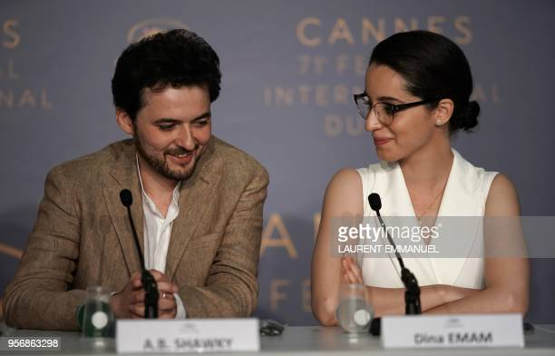 Producer Dina Emam and Egyptian director AB Shawky attend a press conference for the film 'Yomeddine' on May 10 2018 at the 71st edition of the...
