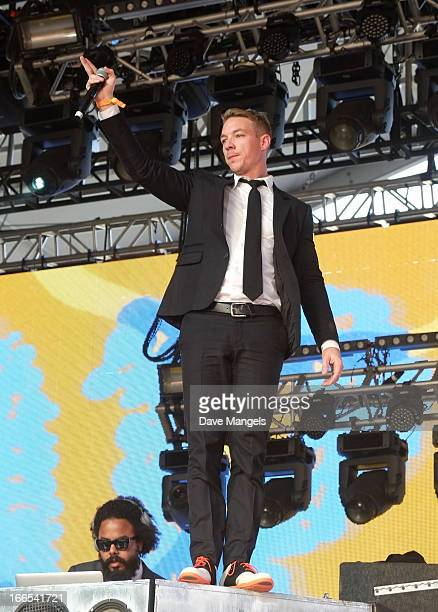 Producer Diplo of Major Lazer performs onstage during day 2 of the 2013 Coachella Valley Music & Arts Festival at the Empire Polo Club on April 13,...