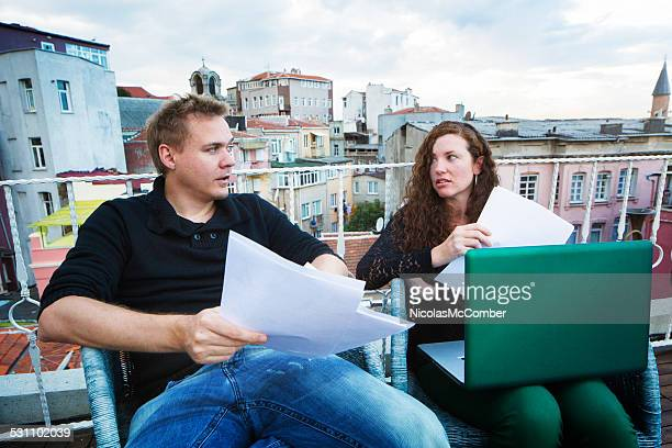 producer discussing script changes with writer - rehearsal stock pictures, royalty-free photos & images