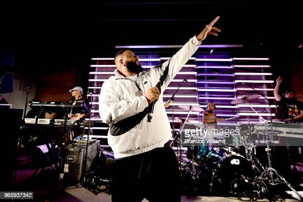 Producer DJ Khaled performs at Nick Grant's performance and meet greet at Urban Outfitters Space 15 Twenty on June 1 2018 in Hollywood California