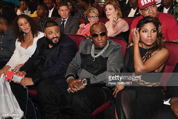 Producer DJ Khaled recording artists Birdman and Toni Braxton attend during the 2016 BET Awards at the Microsoft Theater on June 26 2016 in Los...