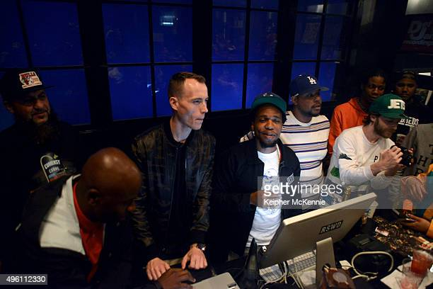 """Producer DJ Skee and recording artist Currensy attend the listening party for his upcoming album """"Canal Street Confidential"""" at The Hundreds on..."""
