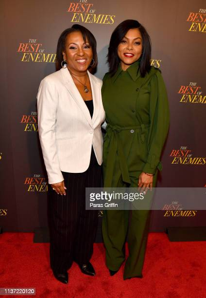 Producer Dominique Telson and actress Taraji P Henson attend 'The Best Of Enemies' Atlanta screening at Regal Atlantic Station on March 20 2019 in...
