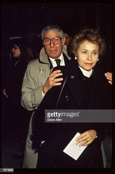Producer Don Hewitt and his wife attend a memorial service for broadcasting executive William Paley November 12 1990 in New York City Paley founded...