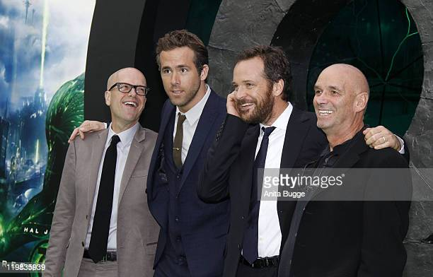 Producer Donald De Line actors Ryan Reynolds and Peter Sarsgaard and director Martin Campbell attend the 'Green Lantern' Germany Premiere at CineStar...