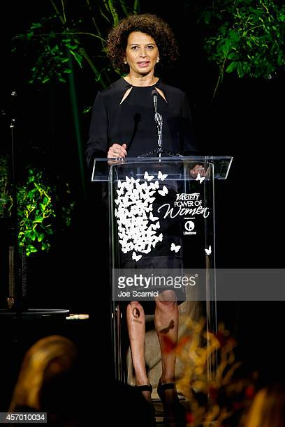 Producer Donna Langley speaks onstage at 2014 Variety Power of Women presented by Lifetime at Beverly Wilshire Four Seasons on October 10 2014 in Los...