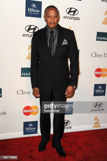 Producer Dr Dre arrives at Clive Davis and the Recording Academy's 2012 PreGRAMMY Gala and Salute to Industry Icons Honoring Richard Branson held at...