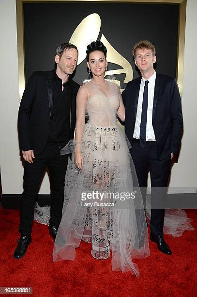 Producer Dr Luke singer Katy Perry and producer Cirkut attend the 56th GRAMMY Awards at Staples Center on January 26 2014 in Los Angeles California