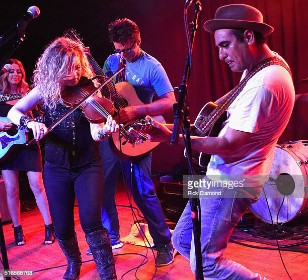 Producer Eddie Bobby Bones and Natalie Stovall of Natalie Stovall and The Drive perform at Bobby Bones And The Raging Idiots SOLD OUT Album Release...
