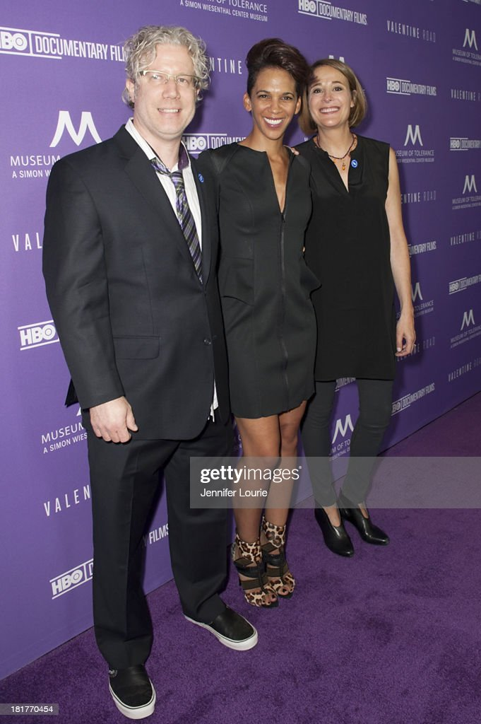 Producer Eddie Schmidt, director Marta Cunningham, and producer Sasha Alpert attend the Los Angeles premiere screening of 'Valentine Road' at The Museum of Tolerance on September 24, 2013 in Los Angeles, California.
