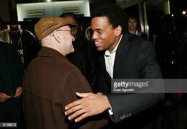 Producer Edward Pressman and actor Michael Ealy attend the New York Premiere of Never Die Alone on March 24 2004 at the Clearview Chelsea West...