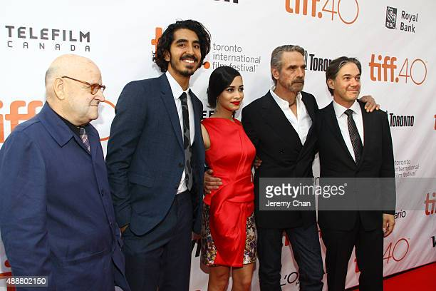 "Producer Edward R. Pressman, actors Dev Patel, Devika Bhise, Jeremy Irons and Writer/Director Matt Brown attend ""The Man Who Knew Infinity"" premiere..."