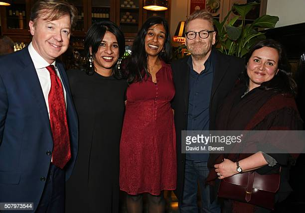 Producer Edward Snape director Indhu Rubasingham playwright Lolita Chakrabarti Sir Kenneth Branagh and wife Lindsay Brunnock attend the press night...