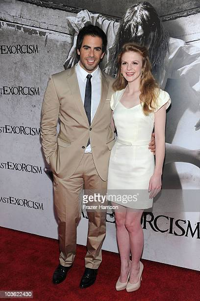 Producer Eli Roth and actress Ashley Bell arrives at the screening of Lionsgate's The Last Exorcismat the Arclight Cinemas on August 24 2010 in...