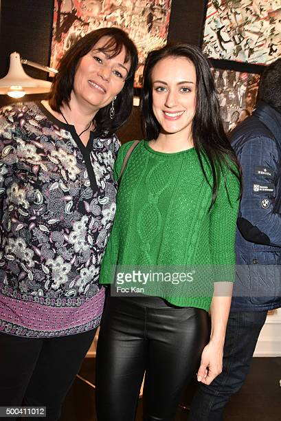 Producer Elisabeth Deshayes and Celine Berti attend the 'Accords Croises' Anne Mondy Exhibition Preview at Galerie Dedar on December 7 2015 in Paris...