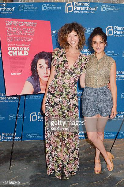 """Producer Elisabeth Holm and actress Jenny Slate attend the Planned Parenthood of America/A24 special screening of """"Obvious Child"""" at U.S. Navy..."""