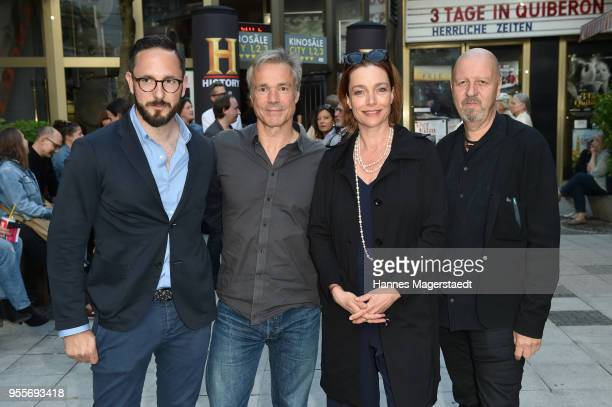 Producer Emanuel Rotstein Hannes Jaenicke Aglaia Szyszkowitz and HistoryChannelCEO Andreas Weinek attend a photo call for new documentary 'Guardians...