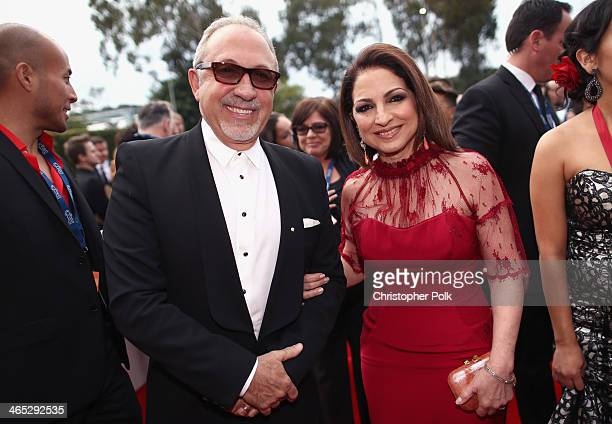 Producer Emilio Estefan and singer Gloria Estefan attend the 56th GRAMMY Awards at Staples Center on January 26 2014 in Los Angeles California