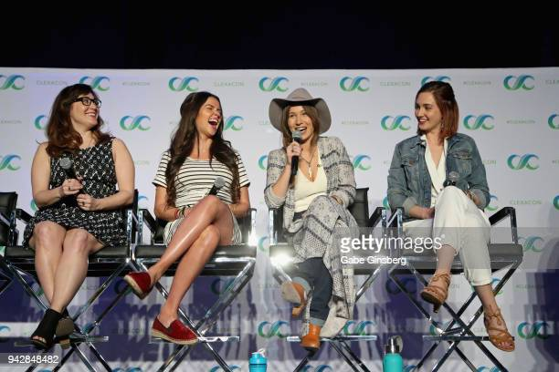 Producer Emily Andras actresses Tamara Duarte Dominique ProvostChalkley and Katherine Barrell speak at the Wynonna Earp panel during the ClexaCon...
