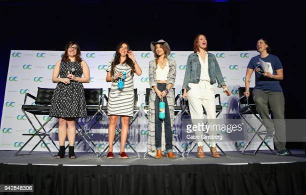 Producer Emily Andras actresses Tamara Duarte Dominique ProvostChalkley Katherine Barrell and The TV Junkies managing editor Bridget Liszewski speak...