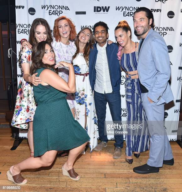 Producer Emily Andras and actors Katherine Barrell Tamara Duarte Melanie Scrofano Varun Saranga Dominique ProvostChalkley and Tim Rozon at the...