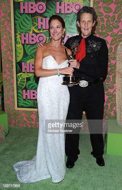 Producer Emily Gerson Saines and Temple Grandin arrive at HBO's Annual Emmy Awards Post Award Reception at the Pacific Design Center on August 29...