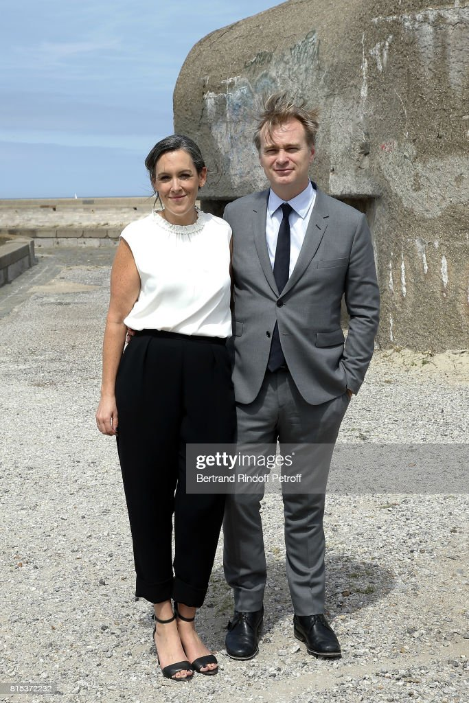 Producer Emma Thomas and Director Christopher Nolan pose for a photo at the Dunkirk photocall on July 16, 2017 in Dunkerque, France.