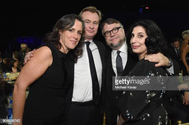 Producer Emma Thomas director Christopher Nolan director Guillermo del Toro and Sue Kroll attend Moet Chandon celebrate The 23rd Annual Critics'...