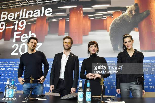 Producer Emre Oskay actor Ozgur Cevik actress Algi Eke and director Ceylan Ozgun Ozcelik attend the 'Inflame' press conference during the 67th...
