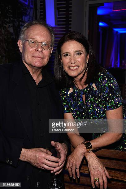 """Producer Eric Overmyer and Mimi Rogers attend the """"Bosch"""" Season 2 after party at The Sunset Tower Hotel on March 3, 2016 in West Hollywood,..."""