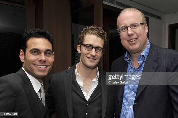 Producer Eric Podwall actor Matthew Morrison and president/COO Island Def Jam Music Group Steve Bartels attends Antonio LA Reid's PostGRAMMY Dinner...