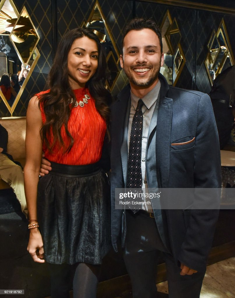 Producer Evan Ferrante (R) and Lilly Lawrence pose for portrait at the premiere of Gravitas Pictures' 'Survivors Guide To Prison' afterparty at Bootsy Bellows on February 20, 2018 in West Hollywood, California.