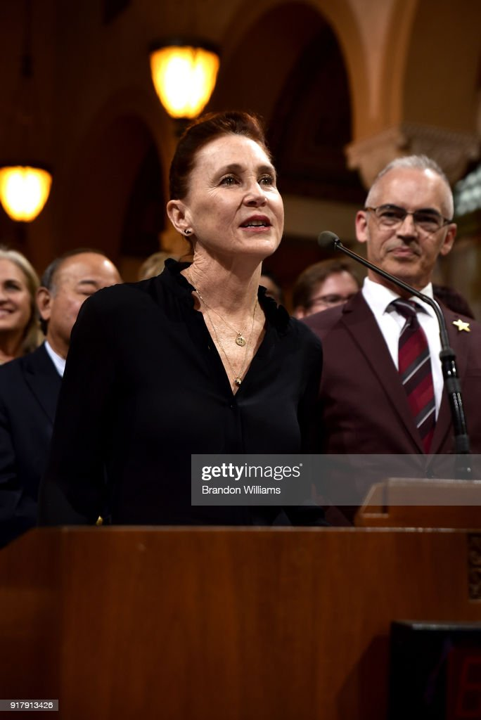 Producer Evelyn O'Neill speaks at the 7th Annual Made in Hollywood Honors Awards Ceremony at Los Angeles City Hall on February 13, 2018 in Los Angeles, California.